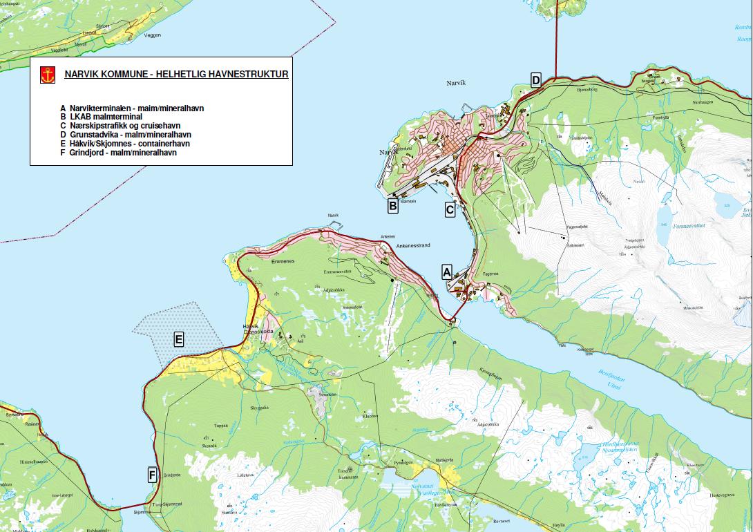 kart over narvik Narvik Havn KF sitt innspill til arealplanen; «Nye Narvik Havn